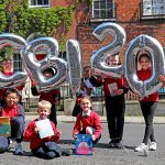 11/5/17***NO REPRO FEE*** Pictured  on North Great Georges Street are children from Rutland Natiopnal School in Dublin as Children's Books Ireland celebrate twenty years of making books a part of every child's life. Since 1997 the national non-profit children's books organisation has celebrated children's books and the joy of reading for pleasure through projects such as the CBI Book of the Year Awards, Inismagazine, the Inis Reading Guide and the annual reading campaign (formerly Children's Book Festival). New initiatives to celebrate the anniversary include the inaugural Robert Dunbar Memorial Libraries and the announcement of Laureate na nÓg PJ Lynch and his three predecessors Siobhan Parkinson, Eoin Colfer and Niamh Sharkey as Patrons of CBI. www.childrensbooksireland.ie Pic: Marc O'Sullivan