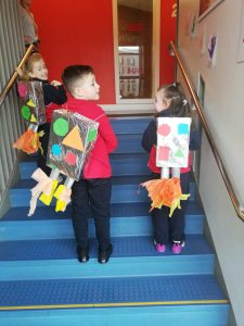 Our senior infants class made backpack rockets with Ms Crosse